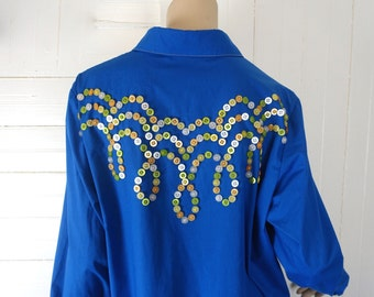 90s Button Embellished Shirt- 1990s Pearly King Blouse in Royal Blue- Medium / Large- Bob Mackie Wearable Art- Oxford- 70s Throwback