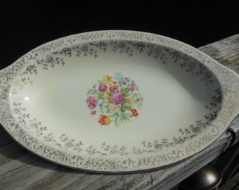 """Pretty vintage Steubenville """"Trend"""" small oval server with gold and floral accents"""