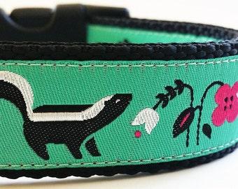 Lil' Stinker - Dog Collar / Handmade / Adjustable / Pet Accessories / Skunk / Flowers / Pet Lover / Gift Idea