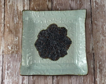 Garlic Grater - Olive Oil Dipping Dish - Porcelain White - Lace and Scroll - Handcrafted by Botanic2Ceramic - 804