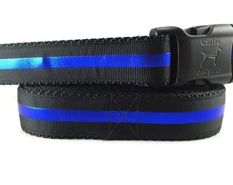 Dog Collar and Leash, Thin Blue Line, 6ft lead, 1 inch wide, adjustable, quick release, metal buckle, chain, martingale, hybrid, nylon