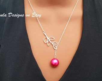Hot Pink Fuschia Freshwater Pearl Wedding Bridesmaid Lariat Necklace