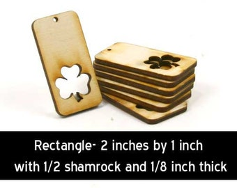 Unfinished Wood Rectangle with 3/4 Shamrock  - 2 inches tall by 1 inch wide and 1/8 inch thick wooden shape (CC-RECSHM01)