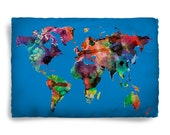 Worldmap Watercolor Design Pillow Covers- Blue or Pink, Standard or King Size