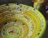 Yellow Gypsy Coiled Fabric Basket - Bohemian, Boho, Hippie, Colorful,  Cheerful, Handmade Fabric Bowl, Catchall