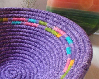 Purple Coiled Fabric Basket With Jeweltone Stripe - Organizer, Catchall, Handmade by Me