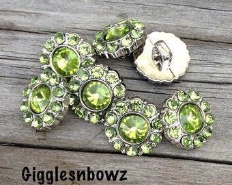 Lime Green Rhinestone Buttons- 15mm Rhinestone Buttons-  You Choose Quantity- Headband Supplies- Diy Wedding- Brooch Bouquet- Sewing Button