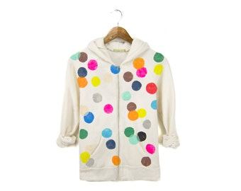 SAMPLE SALE - Colorful Confetti Hoodie - Fleece Long Sleeve Hooded Zip Sweatshirt in Heather Oatmeal & Rainbow Dots - Women's Size XL
