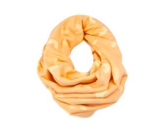 Mac-N-Cheese Infinity Scarf - Hand Printed Sweatshirt Fleece Circle Scarf in Peach-Orange and Yellow Q