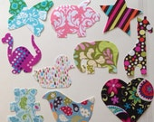 10 Piece Mixed Set Of Girls Fabric Iron On Appliques