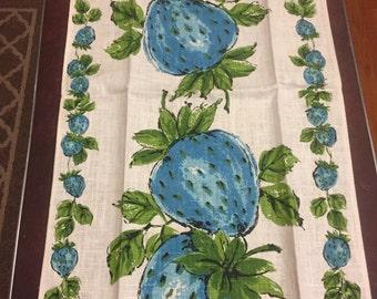 Vintage Linen Tea Towel Blue Strawberries Parisian Prints Linen Towel NWT Fruit