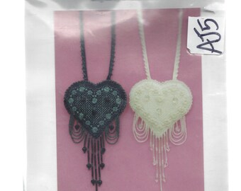 """Reflections of the Heart 3"""" Cross Stitch Necklaces or Pendants, AK Designs by Carol Costella, Pair of Black and White, Vintage 1991 Kits"""