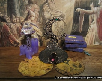 Copper Moon Book & Scroll Stand dollhouse miniature, Moon Goddess, witch, Halloween in 1/12 scale