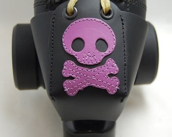 Leather Toe Guards with Lavender Skulls and Crossbones