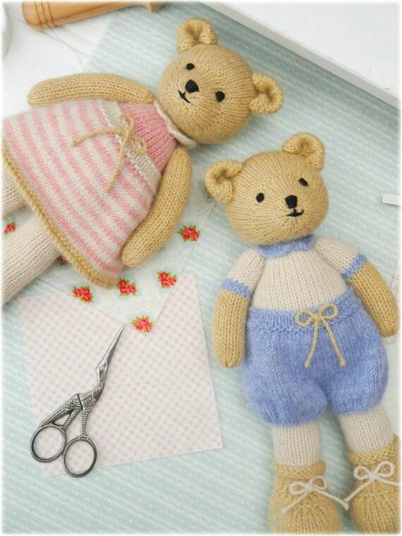Boy Bear Toy Knitting Pattern/ INSTANT Download/ PDF/ Knitted Boy Teddy Bear/...