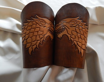 """GOT house Stark """"winter is coming"""" leather bracers, Archery, Dire wolf"""