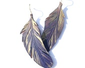 Dusted cobalt feather earrings