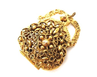 Signed 1960's Art Co. Gold Tone Decorative Filigree Metal Victorian Revival Reversible Locket Purse Pendant