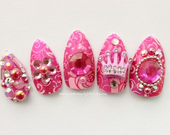 Stiletto Nails, Pink, Girly Princess 3D Fake Nails, 3D Japanese Nail Art, False Nail, Pink, Shibuya, Stiletto Nail, Acrylic Nail, Fake Nail