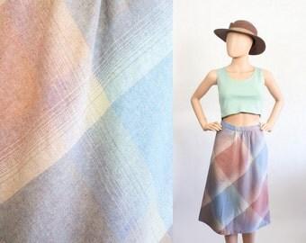 Vintage Pastel Plaid Wool Skit / 70s High Waisted Skirt / 1970s Midi Skirt / Extra Small