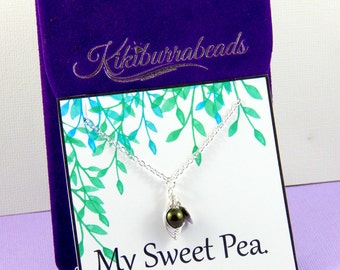 Pea pod Necklace - One Pea In A Pod Necklace, pea in a pod necklace, wire wrapped necklace, mom necklace , sister necklace, bff necklace