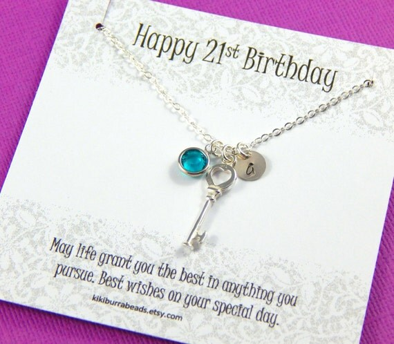 Personalized 18th Birthday Necklace Initial Custom: 21st Or 18th Personalized Birthday Key Necklace Personalized