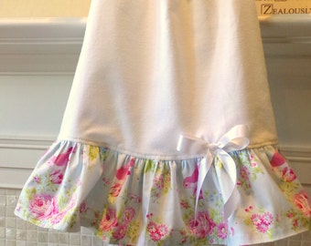 "Girls Nightgown 2T Flannel Blue Roses and Sweet Bird"" Flannel With Cotton Ruffle betrueoriginals"
