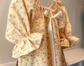 "Nightgown Or Dress ""Rosebuds In Time A Classic"" Custom Girls Size 5, 6, 7 Girls  White Flannel Or Cotton  betrueoriginals"