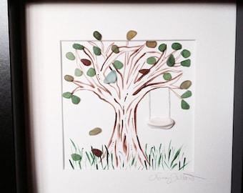 Irish Sea Glass Tree with Sea Pottery Swing