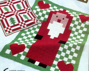 Vintage Crochet Pattern for Six Christmas Granny Square Afghans Throw Blanket  Tree Santa Bear   INSTANT DOWNLOAD PDF
