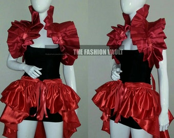 Dramatic Ringmaster Goth Bustle  Burlesque skirt and shoulder collar bolero Steampunk  Moulin rouge Cosplay belly dance