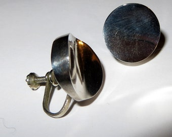 Modern Concave Modernist Design Earrings Screw Back On Mexico