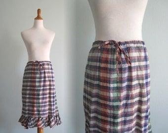 Vintage Cotton Madras Skirt with Drawstring Waist - 80s Indian Cotton Plaid Skirt by Regina Porter - Vintage 1980s Skirt XXL Plus Size