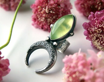 The Shining Light of Creation - Prehnite Sterling Silver Lunar Ring