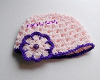 Spring Happy Baby Hat with Flower - 6-12 mo -  pink and purple - made to order