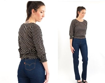 FLASH SALE vintage 70s black + white POKLA Dot blouse S-M
