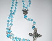 Aqua Blue Faceted AB Finish Crystal with Flowers Rosary Prayer Beads, Catholic Gift, First Communion, Baptism, Wedding, Confirmation