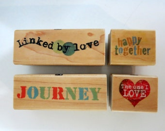 Rubber Stamps Inkadoo Four Piece Set Journey/Love, Set of Four Linked by Love and Journey Rubber Stamps