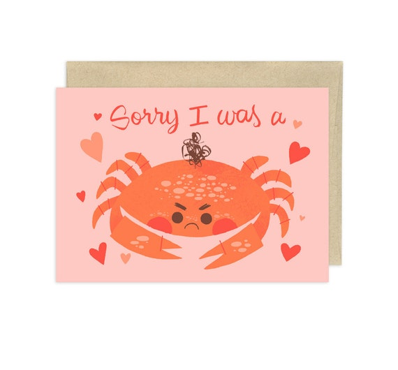 Sorry I Was a Crab Illustrated Greeting Card