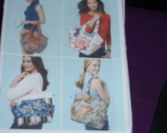 Butterick 5658 Waverly 4 Lined Totes with Inside Pockets and Snap Closure   New Uncut