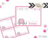Elephant Party Thank You Card | Little Peanut Theme Thank You | Digital or Printed | Elephant Party |  Elephant Thank You Note |  Pink Grey