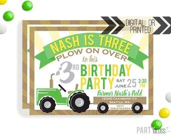 Tractor Party Invitation | Digital or Printed | Tractor Invitation | Tractor Party | Tractor Invite | Farm Party Invitation | Green Yellow