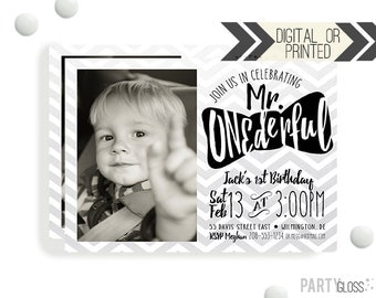Mr. ONEderful Birthday Invitation | Digital or Printed | Chevron Invitation | Mr. Wonderful Invitation |  Onederful Invite | Little Man