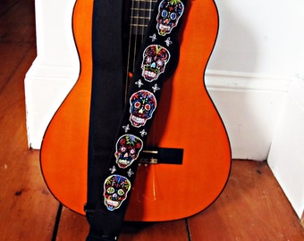 Mexican Day of the Dead ~ Dia de los Muertos ~ Custom Hand Embroidered Guitar Strap ~Sugar Skulls