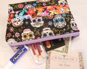 Quilted Flat Bottom--Padded Zipper Pouch in Sugar Skulls