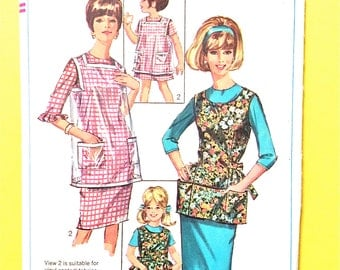 MISSING PIECE H Simplicity Pattern 6809 Vintage 60s Misses Aprons Fabric or Vinyl, dated 1966 Vintage Sewing Pattern  Child's Size 2 or 4