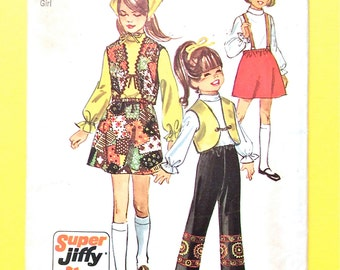 Uncut 70s Simplicity 8526 Child's And Girls Super Jiffy Vest And Pants  Vintage Sewing Pattern Size 8