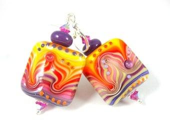Colorful Striped Glass Dangle Earrings, Yellow Purple Red Ripple Earrings Psychedelic Earrings Lampwork Earrings Hippie Jewelry Fun Earrings
