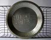 "Vintage ""Tuttles Pies"" Baking Tin ~ Embossed Metal 10"" Pie Plate ~ Vintage Kitchen"