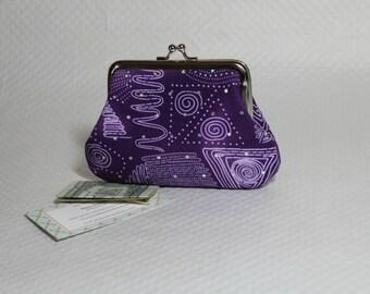 Coin Purse - Change Purse -  Purple Coin Purse - Purple Sparkle Change Purse - Kiss Lock Coin Purse